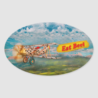Flying Pigs - Plane - Eat Beef Oval Sticker