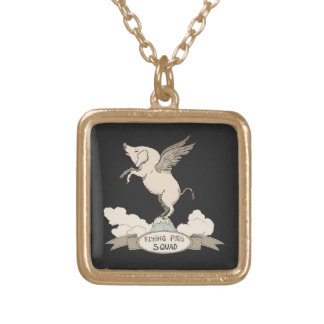 Flying Pigs Squad Gold Plated Necklace