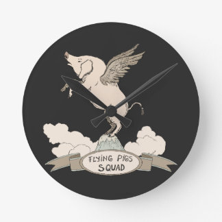 Flying Pigs Squad Round Clock