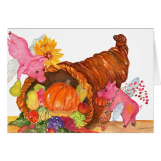 Flying Pigs Thanksgiving Cornucopia Horn Of Plenty Greeting Card