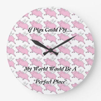Flying Pigs Wall Cloud Large Clock