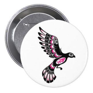 Flying Pink and Black Haida Spirit Bird Pinback Button
