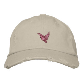 Flying pink bird womens embroidered distressed hat