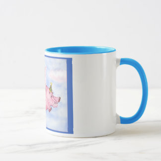 Flying Pink Hippopotamus in a Party Hat Mug