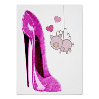 Flying Pink Pig and Stiletto Shoe Art Poster