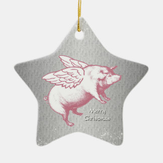 Flying Pink Pigs - Star Ornament