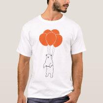 Flying Polar Bear with Balloons T-Shirt