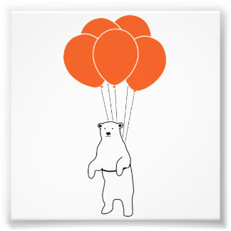 Flying Polar Bear with Birthday Balloons Photo Print