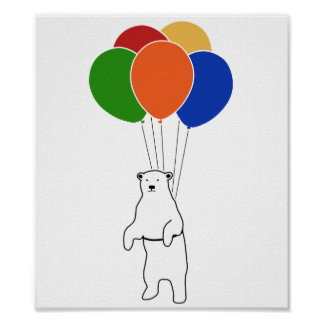 Flying Polar Bear with Birthday Balloons Poster