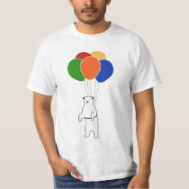 Flying Polar Bear with Birthday Balloons T-Shirt