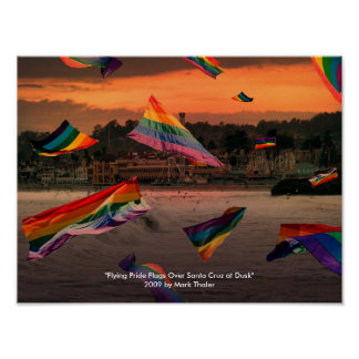 """Flying Pride Flags Over Santa Cruz at Dusk"" Posters"