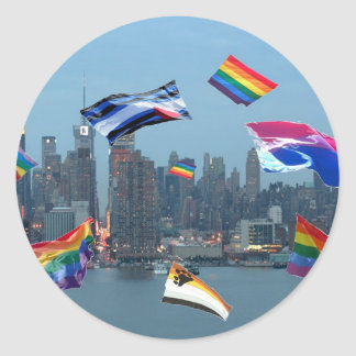 Flying Pride Over New York Classic Round Sticker
