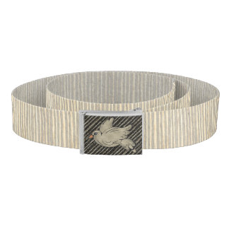 Flying Pudgy Bird on Ivory and Gray Raffia Pattern Belt