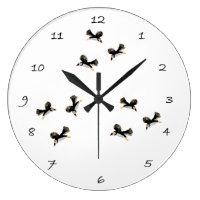 Flying Puffins Bird Art Large Clock