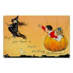 Flying Pumpkn and Witch Poster