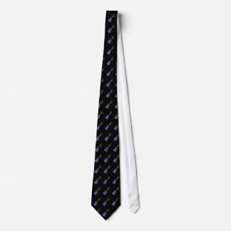 Flying Purple Electric Guitar Music Notes Tie