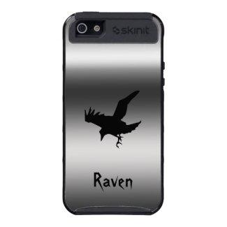 Flying Raven Bird on brushed steel effect
