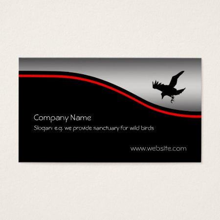Flying Raven Bird, red swoosh, metallic-effect Business Card