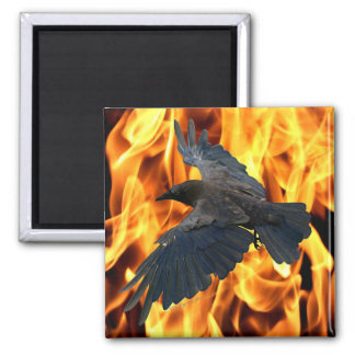 Flying Raven & Burning Flames Native American 2 Inch Square Magnet