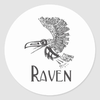 Flying Raven Classic Round Sticker