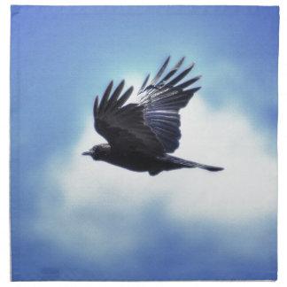 Flying Raven in Blue Sky HDR Photo Design 2 Cloth Napkin