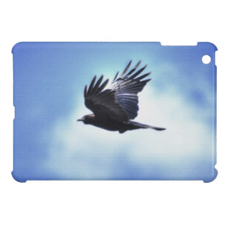 Flying Raven in Blue Sky HDR Photo Design 2 Cover For The iPad Mini