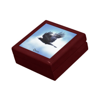 Flying Raven in Blue Sky HDR Photo Design 2 Jewelry Box