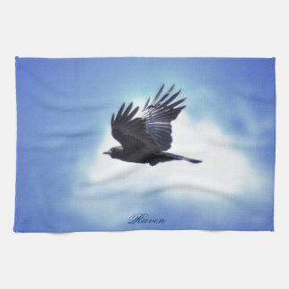 Flying Raven in Blue Sky HDR Photo Design 2 Kitchen Towel