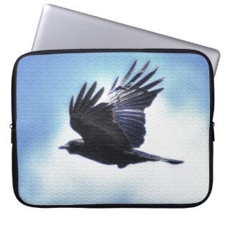 Flying Raven in Blue Sky HDR Photo Design 2 Laptop Sleeve