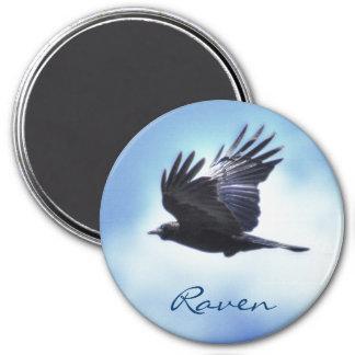 Flying Raven in Blue Sky HDR Photo Design 2 Magnet