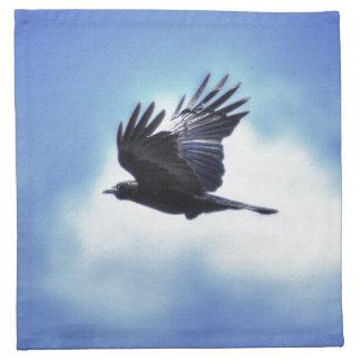 Flying Raven in Blue Sky HDR Photo Design 2 Napkin