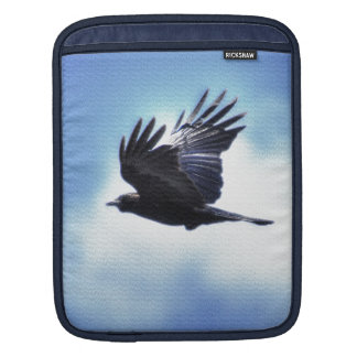 Flying Raven in Blue Sky HDR Photo Design 2 Sleeve For iPads