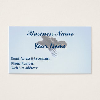 Flying Raven in Blue Sky HDR Photo Design Business Card