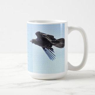 Flying Raven in Blue Sky HDR Photo Design Coffee Mug