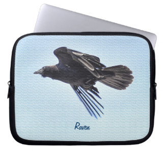 Flying Raven in Blue Sky HDR Photo Design Computer Sleeve