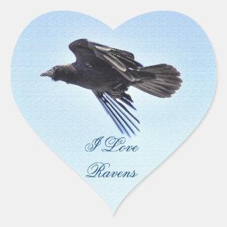 Flying Raven in Blue Sky HDR Photo Design Heart Sticker