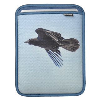 Flying Raven in Blue Sky HDR Photo Design iPad Sleeves
