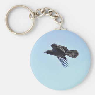 Flying Raven in Blue Sky HDR Photo Design Keychain