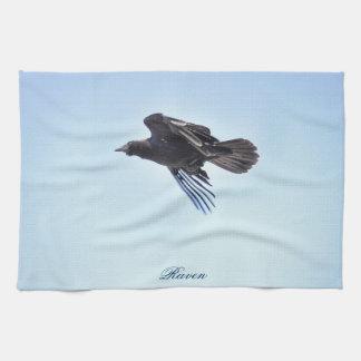 Flying Raven in Blue Sky HDR Photo Design Kitchen Towel