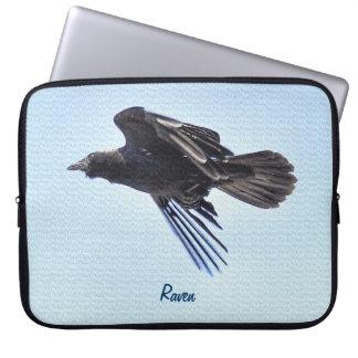 Flying Raven in Blue Sky HDR Photo Design Laptop Sleeve