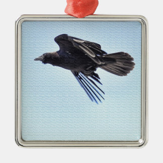 Flying Raven in Blue Sky HDR Photo Design Metal Ornament