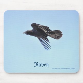 Flying Raven in Blue Sky HDR Photo Design Mouse Pad