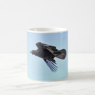 Flying Raven in Blue Sky HDR Photo Design Coffee Mug
