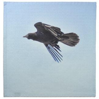 Flying Raven in Blue Sky HDR Photo Design Napkin