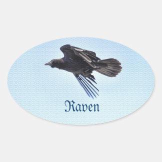 Flying Raven in Blue Sky HDR Photo Design Oval Sticker