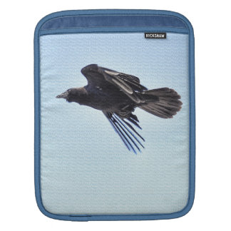 Flying Raven in Blue Sky HDR Photo Design Sleeve For iPads