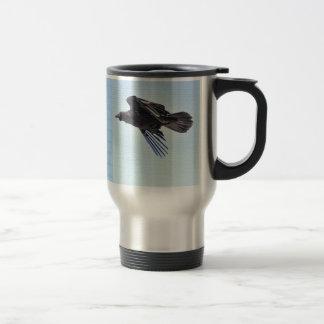 Flying Raven in Blue Sky HDR Photo Design Travel Mug