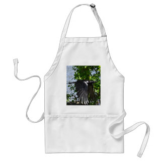 Flying Raven in Sunlight Wildlife Photo Adult Apron