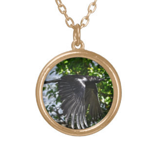 Flying Raven in Sunlight Wildlife Photo Gold Plated Necklace