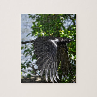 Flying Raven in Sunlight Wildlife Photo Jigsaw Puzzle